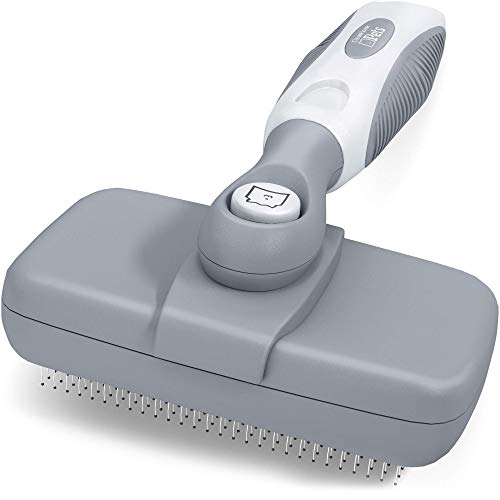 CleanHouse Pets Cat and Dog Brush - Easy Self Cleaning Button! Pro Grooming Pet Slicker Brush, Hair Remover for Shedding, Cleans & De Sheds - Best Grooming Brush for Dogs and Cats - Gray