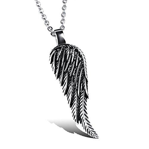JewelryWe Schmuck Edelstahl Retro Engel Flügel Engelsflügel Feder Anhänger mit 55cm Kette, Halskette für Herren Damen, Schwarz Silber