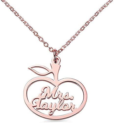 Collar de plata de ley 925 para mujer Lakabara, collar con nombre de manzana, joyería personalizada, oro rosa