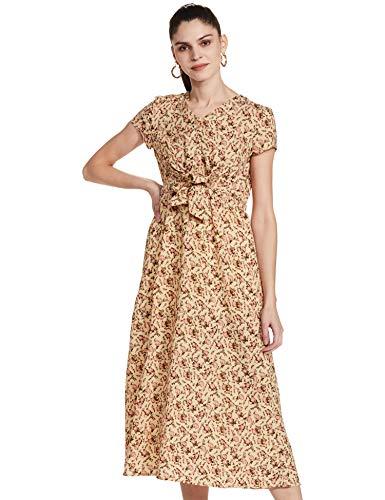 Amazon Brand - Eden & Ivy Women's Polyester Empire Midi Dress (SS20/WCF/INS-P-0010_Beige_S)