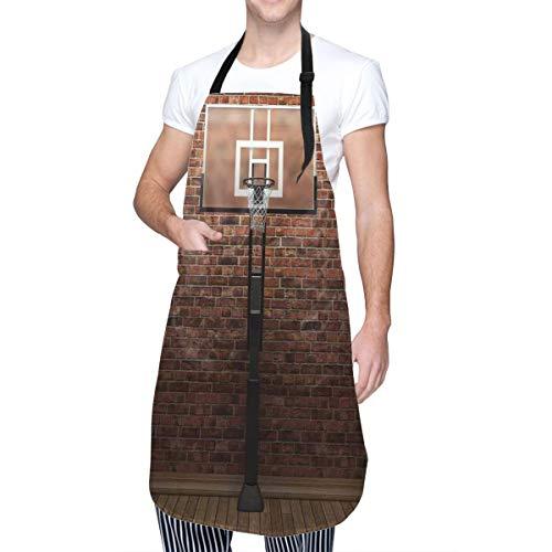 SUDISSKM Delantal,Pared de ladrillo antiguo y borde de aro de baloncesto estadio de ejercicio de entrenamiento interior,Unisex Delantales de Cocinero para Restaurante Barbacoa Cocinar Hornear 84x70cm