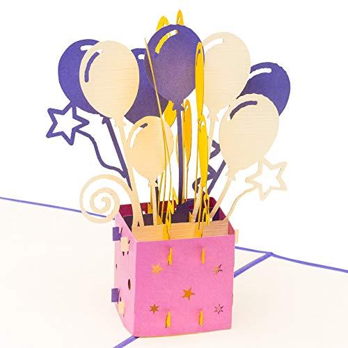 3D Geburtstagskarte - Geschenkpaket mit Luftballons und Sternen - Pop up Karte, Glückwunschkarte Geburtstag, Grußkarte, Geschenkkarte, Happy Birthday Card, Geburtstagskarten