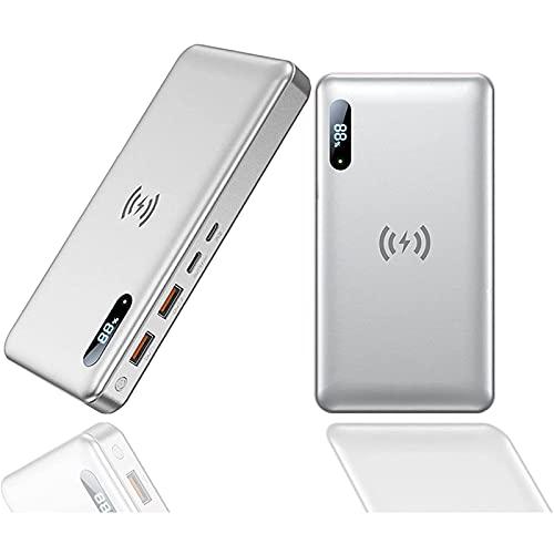 AEU Batería Externa Carga Inalámbrica Qi 50000Mah 65W PD Powerbank 15W Wireless Quick Rápido Portátil Cargador Portátil Inalámbrica QC 4.0 USB-C, Doble Entradas 4 Salidas para iPhone 12/11, Samsung