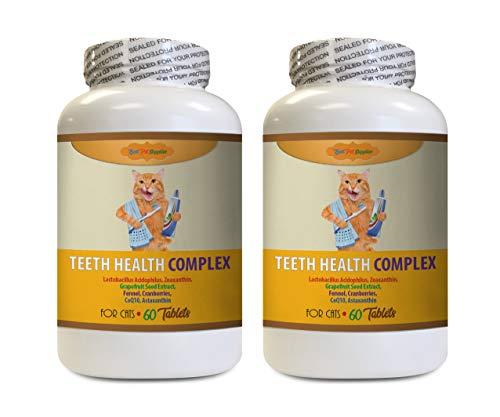 BEST PET SUPPLIES LLC cat Dental Treats - Teeth Health COMPEX for Cats - Clean Healthy Gums Mouth Teeth - VETS Favorite Formula - Kitty Vitamin - 120 Treats (2 Bottles)