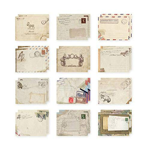 96 Pcs Greeting Card Envelopes, kawaii Cute Retro Lovely Vintage Special Mini Envelope for Christmas, Wedding, Birthday Party (12 Different Design)