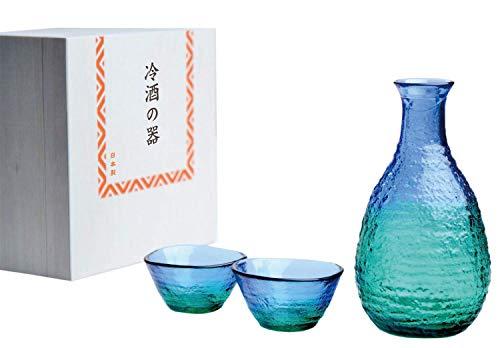 東洋佐々木ガラス 冷酒器 ブルーグリーン 約20×19×12cm 酒グラスコレクション 酒器揃え 日本製 G604-M77 3点入