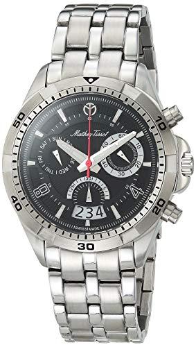 MATTHEY-TISSOT Bolton Correa de acero inoxidable de cuarzo para hombre, plata, 22 reloj casual (Modelo: H5002CHAN)