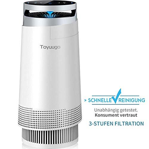 Luftreiniger, Toyuugo Anion air Purifier HEPA-Filter(99,97{09497fb0408107074927d18e0f1ae83d0a0d77fafd73ae4b4badce74a0fd170e} Filterleistung) mit Aktivkohlefilter mit LED Nacht Light für Allergiker und Raucher