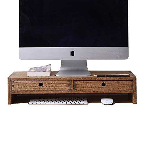 Kirigen Wood Monitor Stand with 2 Drawers Computer Arm Riser Desk Storage Organizer, TV Laptop Printer Stand,2-Tier Desktop Shelf Natural Dark Brown