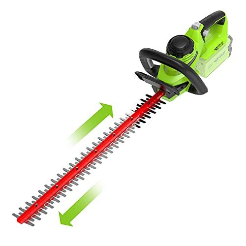 Greenworks Akku-Heckenschere G40HT (Li-Ion 40V 61cm Schnittlänge 27mm Zahnabstand 3000 Schnitte/min verstellbarere Zusatzhandgriff ohne Akku und Ladegerät)