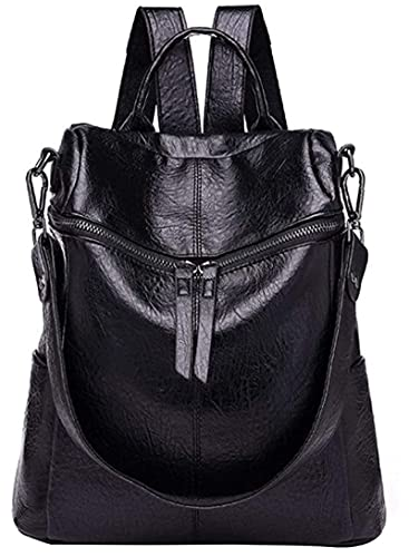 Mochila para mujer, antirrobo, impermeable, de piel, para llevar al hombro, para viajes, impermeable, varios bolsillos para el trabajo, la escuela y viajes, Negro (Negro) - ZYW-IHABUP