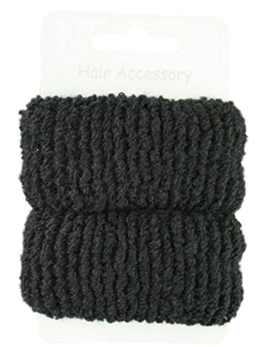 Pair of Large Black Soft Hair Ponios Donuts Bobbles Bands by Pritties Accessories