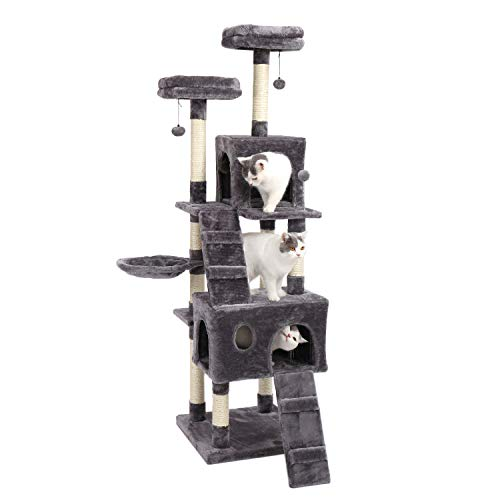 PAWZ Road 69 Inches Cat Tree with 2 Condos and 2 Perches, Kitty Climber Tower Furniture, Upgraded Version Grey