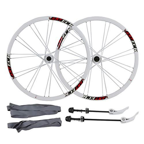 LvTu Bicicleta de Montaña Juego de Ruedas MTB Bici Delantero Trasero Rueda 26 Pulgadas, 24H Liberación Rápida 7 8 9 10 Velocidad Disc Pared Doble Llanta (Color : White Hub)