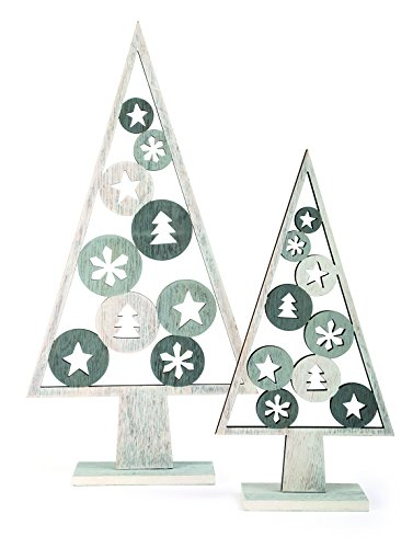 small foot Lot de 2 décorations de Noël en Bois Gris 17 x 5 x 33 cm
