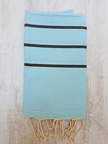 Miktex Toalla Fouta Ibiza, XL 100 x 200 cm, 100% algodón, 380 g Suave, Flexible, Absorbente y Ligera. Toalla de Playa, Mantel, sofá, Colcha, paréo, Picnic (Turquesa Claro, Negra)