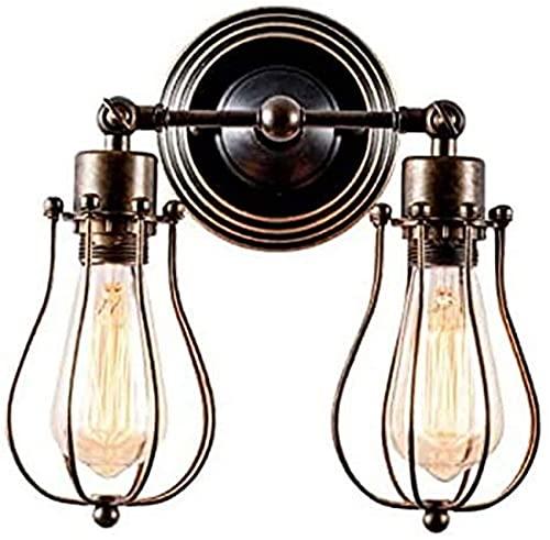 Lampara Pared,Jaula de alambre Pared Luces de pared vintage Iluminación industrial Alambre rústico Apliques de jaula de metal Lámpara de pared interior para el hogar Accesorio de iluminación retro