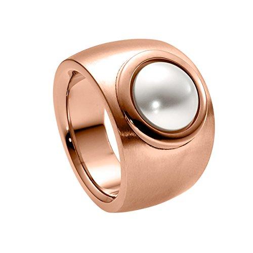 Heideman Ring Damen aus Edelstahl Rosegold farbend matt Damenring für Frauen mit Swarovski Perle Weiss rund 10mm