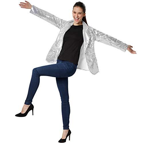 dressforfun 900995 Damen Pailletten Blazer, Langarm Glitzer Jackett, Silber - Diverse Größen - (S | Nr. 303851)