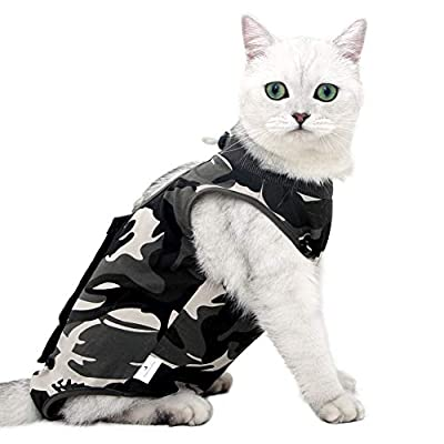 Cat Professional Recovery Suit for Abdominal Wounds or Skin Diseases, E-Collar Alternative for Cats and Dogs, After Surgery Wear, Home Clothing (M, Camouflage)