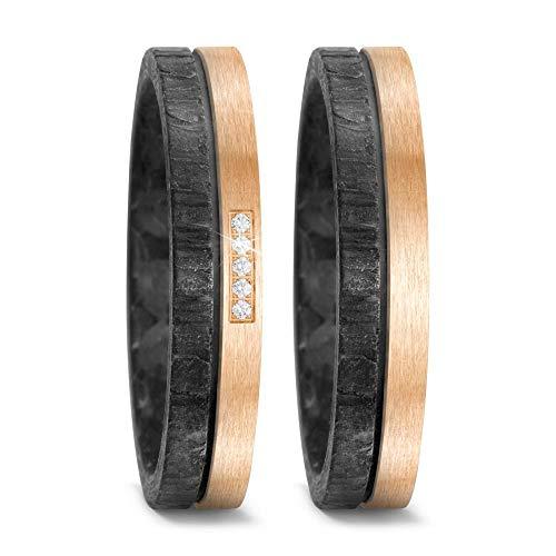CORE by Schumann Design Trauringe Eheringe aus Titan, Bronze und Carbon Kombination Tricolor mit echten Diamanten GRATIS Gravur 20002783