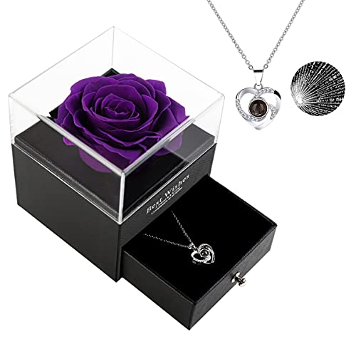 Mothers Day Gifts for Mom, Gifts for Mom, Preserved Real Rose With 100 Language I Love You Mom Necklace Mothers Day/Birthday Gifts for Mom