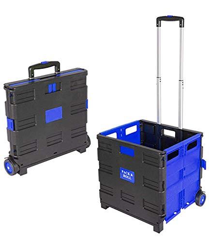 Praknu Einkaufstrolley Einkaufskorb Faltbar Blau | Belastbar bis 35kg | Ladekapazität 50L | Mit Ausziehgriff