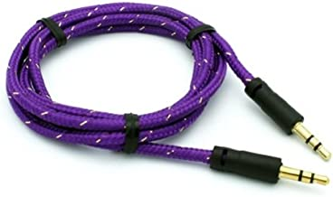 SELNA Purple Tangle Free Braided Wire Car Audio Stereo Aux Cable Auxiliary Adapter for Boost Mobile Samsung Galaxy Rush - Boost Mobile Samsung Galaxy S 2 4G - Boost Mobile Samsung Galaxy S 3 SPH-L710 - Boost Mobile Samsung Galaxy S5 - Boost Mobile Samsung