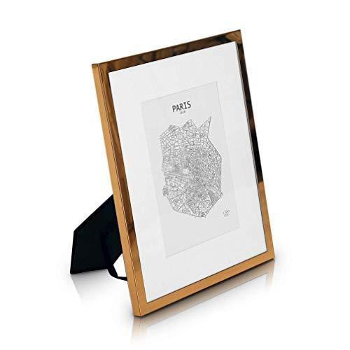 Marco 20 x 25 cm Metal - Marco de Foto Elegante Galvánico - Frente de Cristal - con Paspartú para Fotos 13 x 18 cm Incluido - ¡Grosor 1,5 cm! - Cobre Brillante