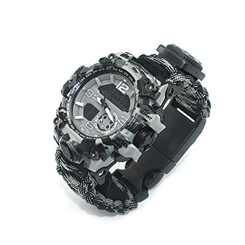 WTYU Regenschirm Cord Geflochtene Uhr, Multifunktionskompass, leuchtende, wasserdichte, Dual-Movement-Camouflage-Uhr, EIN Geschenk für Männer E