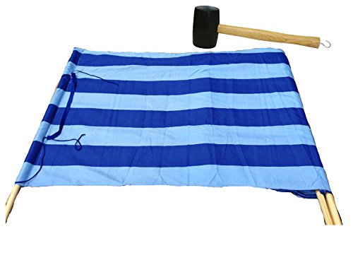 Idena Baumwoll Windschutz incl. 5 Holzstäbe, 5 m x 0,80 m | Limitierte Auflage Blau Hellblau inklusive Gummihammer