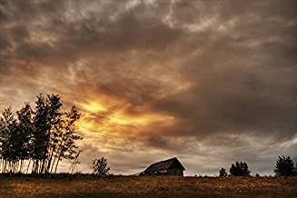 Imagekind Wall Art Print Entitled an Old Abandoned Homestead On A Hill During A Fall by Design Pics | 16 x 11