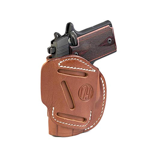 1791 GUNLEATHER 4-Way SIG Holster - OWB and IWB CCW Holster - Right Handed Leather Gun Holster - Fits Sig Sauer P365 Sig P238 and Ruger LCP 380 - Classic Brown