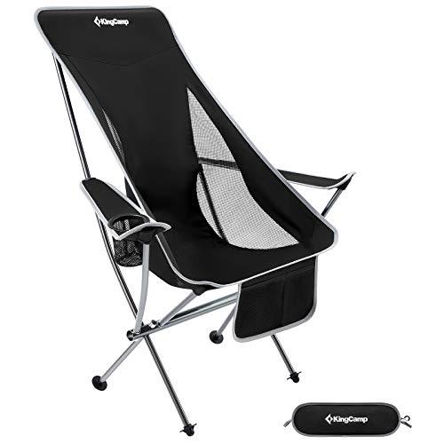 KingCamp Ultraleicht Campingstuhl Anglerstuhl Klappstuhl mit hoher Rückenlehne und Seitentasche bis 120 kg belastbar Kleines Packmaß