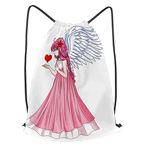 fudin Unisex Wasserdicht Kordelzug Rucksack Anime Twin Märchen Charakter Angel Pink Kleid Holding Heart Turnbeutel Sporttasche für Yoga Freien Schule Strand Schwimmen