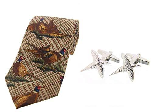 Soprano Cravate Tweed Marron Faisan avec Boutons de Manchette en Argent Faisan en Vol dans une Boîte-cadeau