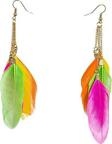 Feder Ohrringe Indianer Ohrhänger neonfarben Neon Federohrringe Neonparty Ohrschmuck Pocahontas Federschmuck Mottoparty Ohr Schmuck Accessoires Damen