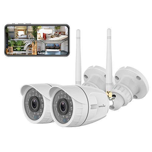Outdoor Security Camera, Wansview 1080P Wireless WiFi Home Surveillance Waterproof Camera with Night Vision, Motion Detection, Remote Access, Works with Alexa -W4-2PACK