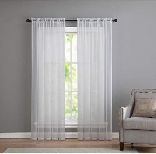 GoodGram 2 Pack: Basic Rod Pocket Sheer Voile Window Curtain Panels - Assorted Colors & Sizes (White, 84 in. Long Pair)