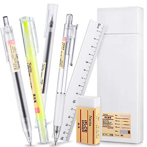 7 Stücke Briefpapier Set mit Federmäppchen aus Kunststoff Mechanischer Bleistift 0,5 mm Doppelseitiger Textmarker Gelkugelschreiber Doppelseitiges Lineal Radiergummi Büromaterial