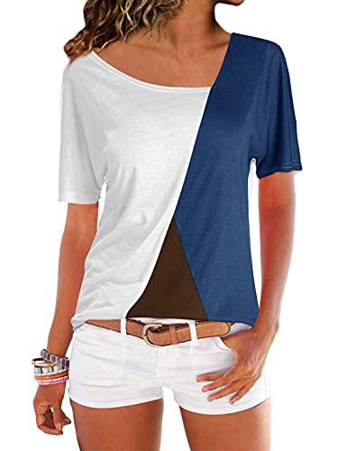 YOINS YOINS Sexy Schulterfrei Oberteil Damen Tshirt Sommer Oberteile Frauen Tunika Damen Tops Gestreift Pulli Lose Hemd Kurzarm-weiß EU 46 (Herstellergröße: XXL)