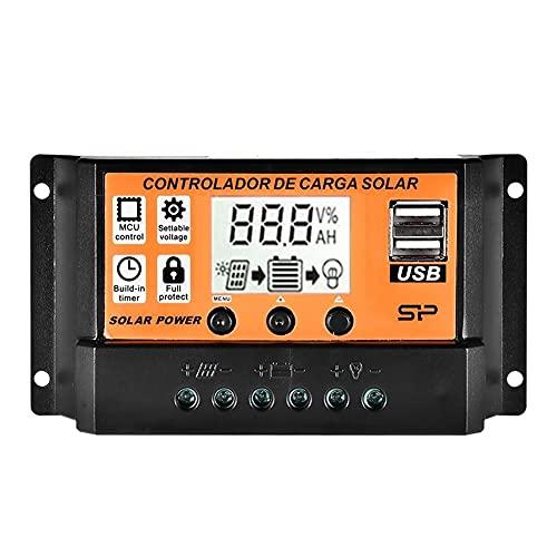 ZBF PWM controlador de carga solar LCD panel de carga de batería auto dual USB controlador de carga MPPT 12 V 24 V regulador carga cargador sistema solar baterías (corriente: 30 A)
