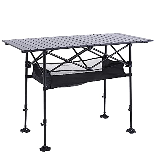 ALPHA CAMP Camping Table Outdoor Portable Table with Storage Adjustable Aluminum Table for Grill Travel Table Outdoor Picnic,Beach,BBQ,Backyards