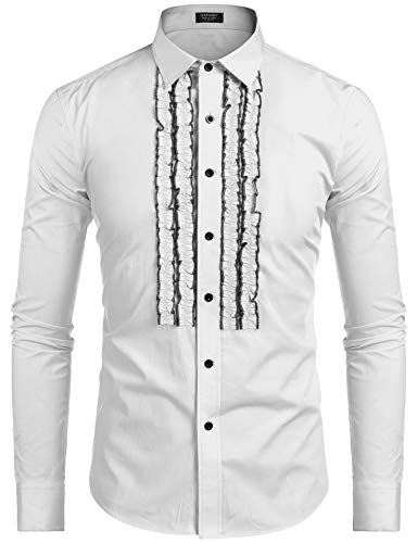 COOFANDY Men's Tuxedo Shirt Slim Fit Ruffle Ruche Frill Dress Shirt Wedding Party Prom Dinner Formal Button Down Shirt (White, XX-Large)