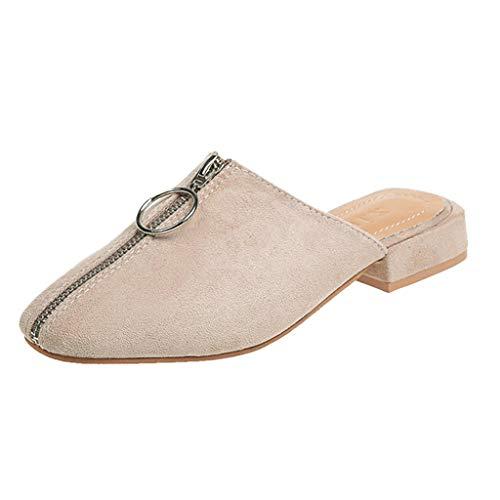 Zegeey Damen Sandalen Sommer Mit Absatz Closed Toe Geschlossene Sandalen Mit ReißVerschluss Slingback Mode Flache Schuhe (A-Beige,43 EU)