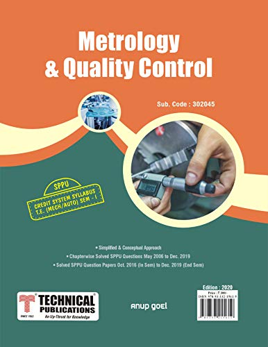 Metrology & Quality Control for SPPU 15 Course (TE - I - Mech. - 302045) – 2020 Edition (English Edition)
