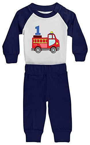 Hariz Baby Pijama coche de bomberos 1 cumpleaños niños Baby Plus Tarjeta de regalo blanco/azul marino 12 – 18 meses