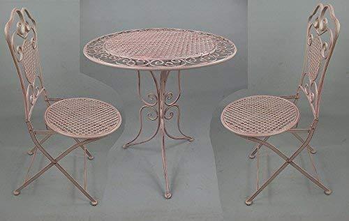 linoows Tête-à-tête Gartengarnitur, Sitzgruppe, Gartenmöbel Set, Eisen Möbel, Rosa