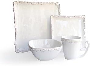 "American Atelier Bianca Wave 16-Piece Dinnerware Set, White, 10.75x10.75"" - 1567115-RB"