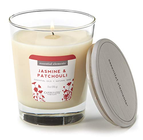 Essential Elements by Candle-Lite Company Scented Jasmine & Patchouli Single-Wick Jar Candle, 9 oz, Off White